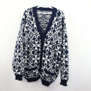 Vintage Handwoven Cowichan Cardigan Sweater Mens